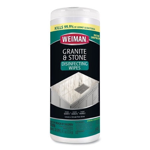 Granite And Stone Disinfectant Wipes, Spring Garden Scent, 7 X 8, 30-canister, 6 Canisters-carton