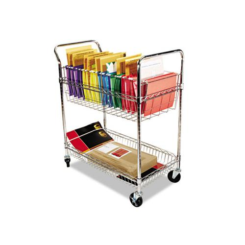 Carry-all Cart-mail Cart, Two-shelf, 34.88w X 18d X 39.5h, Silver