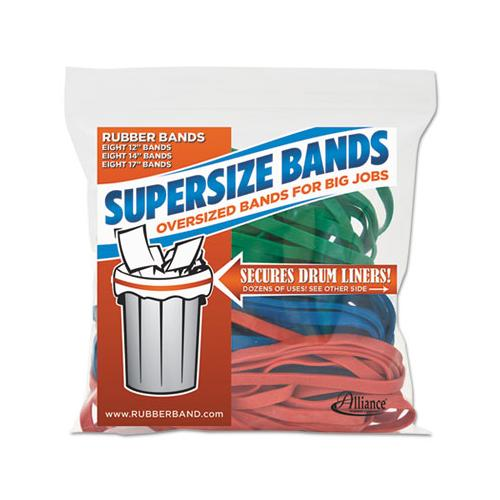 "Supersize Bands, 0.25"" Width X Assorted Lengths, 4060 Psi Max Elasticity, Assorted Colors, 24-pack"