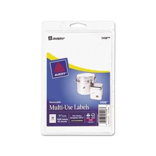 "Removable Multi-use Labels, Inkjet-laser Printers, 0.75"" Dia., White, 24-sheet, 42 Sheets-pack, (5408)"