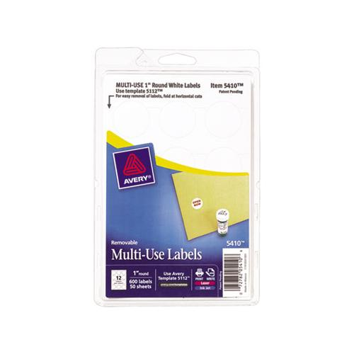 "Removable Multi-use Labels, Inkjet-laser Printers, 1"" Dia., White, 12-sheet, 50 Sheets-pack, (5410)"