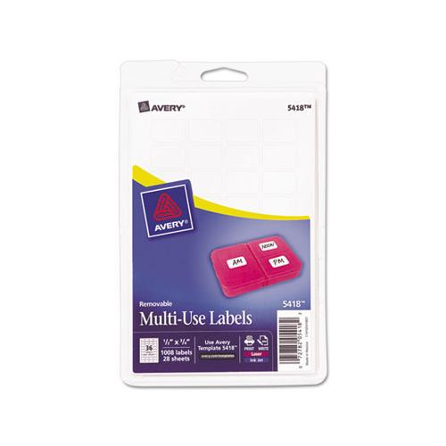 Removable Multi-use Labels, Inkjet-laser Printers, 0.5 X 0.75, White, 36-sheet, 28 Sheets-pack, (5418)