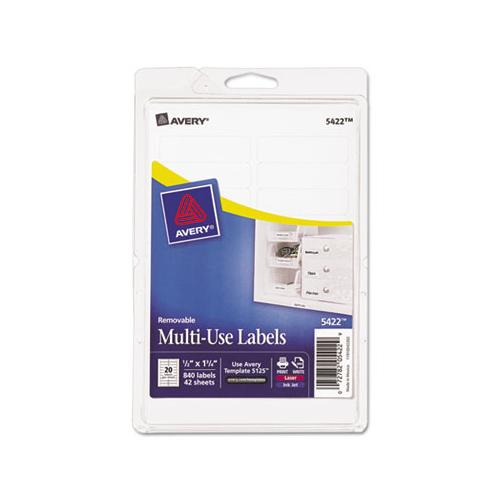 Removable Multi-use Labels, Inkjet-laser Printers, 0.5 X 1.75, White, 20-sheet, 42 Sheets-pack, (5422)