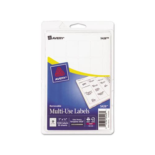 Removable Multi-use Labels, Inkjet-laser Printers, 1 X 0.75, White, 20-sheet, 50 Sheets-pack, (5428)