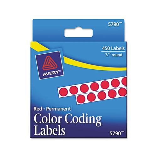 "Handwrite-only Self-adhesive Removable Round Color-coding Labels In Dispensers, 0.25"" Dia., Red, 450-roll, (5790)"