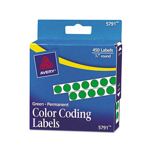 "Handwrite-only Self-adhesive Removable Round Color-coding Labels In Dispensers, 0.25"" Dia., Green, 450-roll, (5791)"