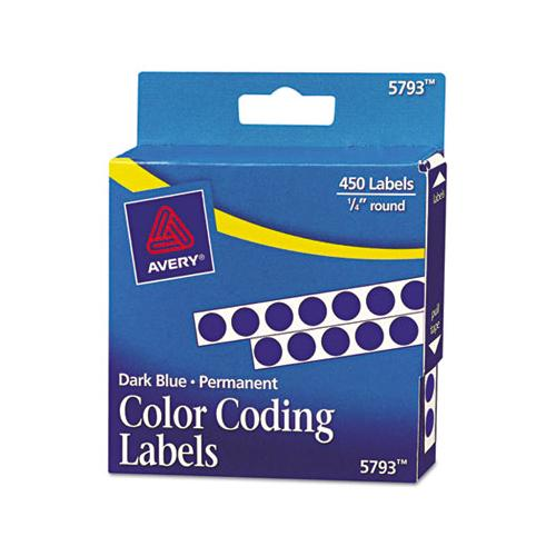 "Handwrite-only Self-adhesive Removable Round Color-coding Labels In Dispensers, 0.25"" Dia., Dark Blue, 450-roll, (5793)"