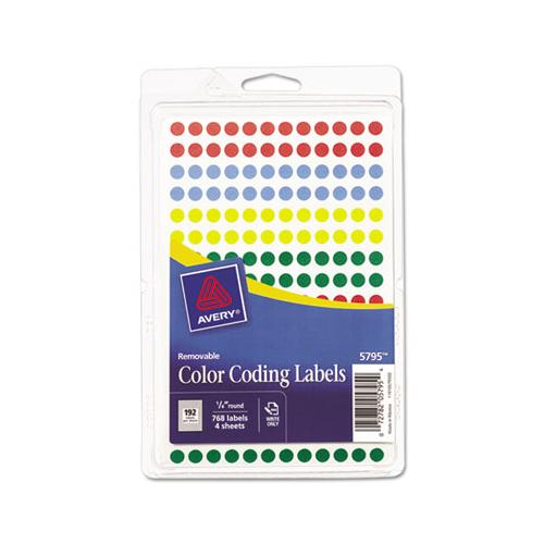 "Handwrite Only Self-adhesive Removable Round Color-coding Labels, 0.25"" Dia., Assorted, 192-sheet, 4 Sheets-pack, (5795)"