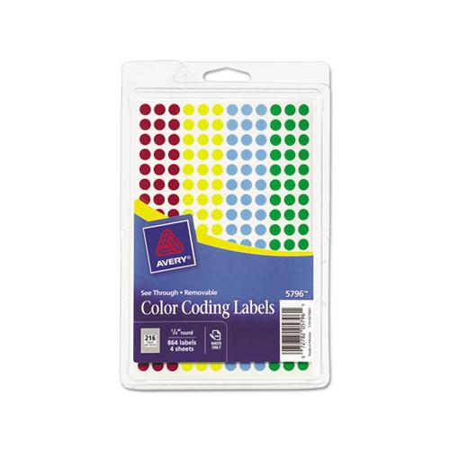 "Handwrite-only Self-adhesive ""see Through"" Removable Round Color Dots, 0.25"" Dia., Assorted, 216-sheet, 4 Sheets-pack, (5796)"