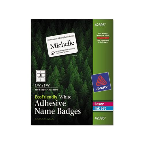 Ecofriendly Adhesive Name Badge Labels, 3.38 X 2.33, White, 160-box