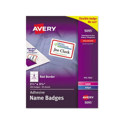Flexible Adhesive Name Badge Labels, 3.38 X 2.33, White-red Border, 400-box