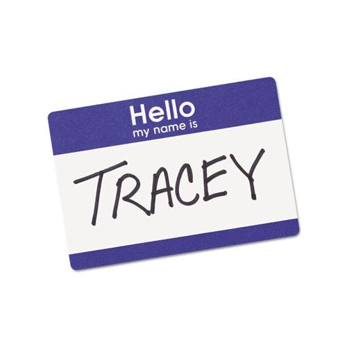 "Printable Adhesive Name Badges, 3.38 X 2.33, Blue ""hello"", 100-pack"