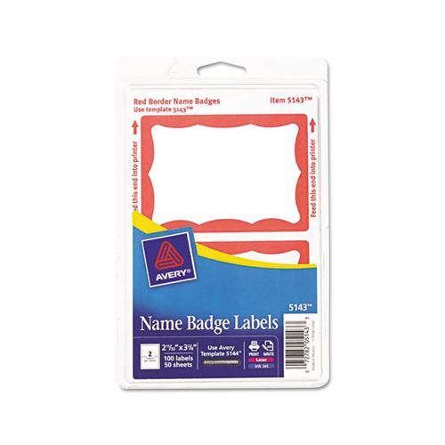 Printable Adhesive Name Badges, 3.38 X 2.33, Red Border, 100-pack