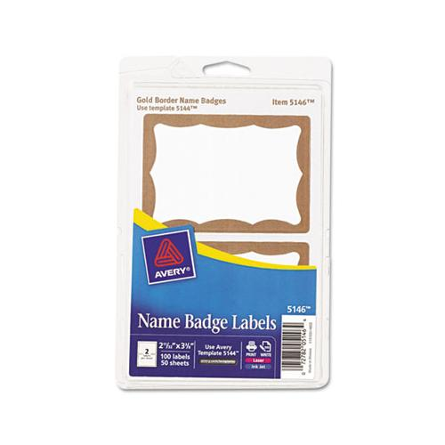 Printable Adhesive Name Badges, 3.38 X 2.33, Gold Border, 100-pack