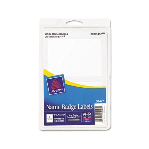 Printable Adhesive Name Badges, 3.38 X 2.33, White, 100-pack