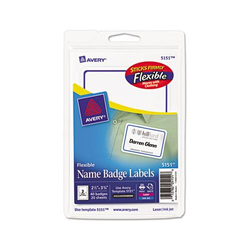 Flexible Adhesive Name Badge Labels, 3.38 X 2.33, White-blue Border, 40-pack