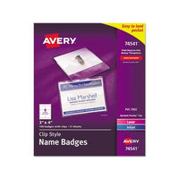 Clip-style Name Badge Holder With Laser-inkjet Insert, Top Load, 4 X 3, White, 100-box