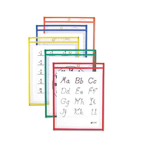 Reusable Dry Erase Pockets, 9 X 12, Assorted Primary Colors, 10-pack