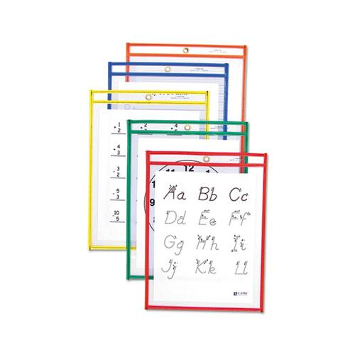 Reusable Dry Erase Pockets, 9 X 12, Assorted Primary Colors, 25-box