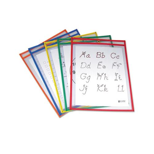Reusable Dry Erase Pockets, 9 X 12, Assorted Primary Colors, 5-pack