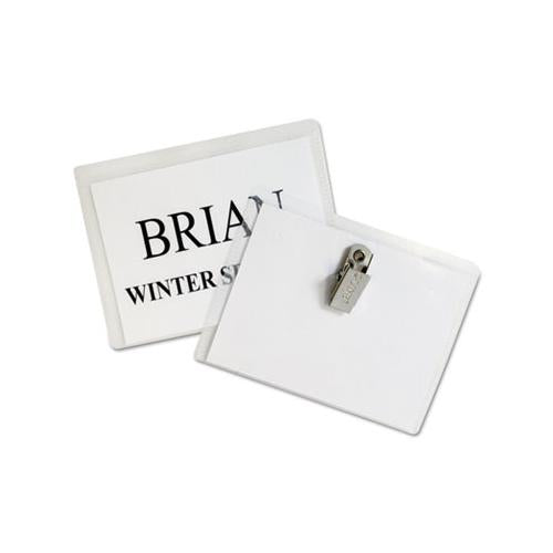 Name Badge Kits, Top Load, 4 X 3, Clear, 50-box