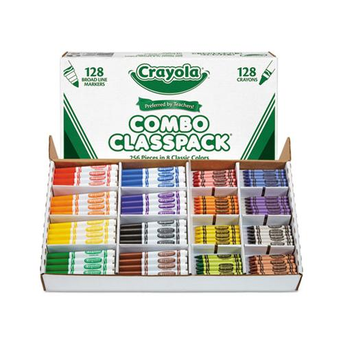 Crayons And Markers Combo Classpack, Eight Colors, 256-set