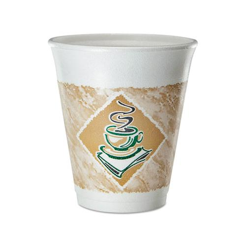 Cafe G Foam Hot-cold Cups, 8 Oz, Brown-green-white, 25-pack