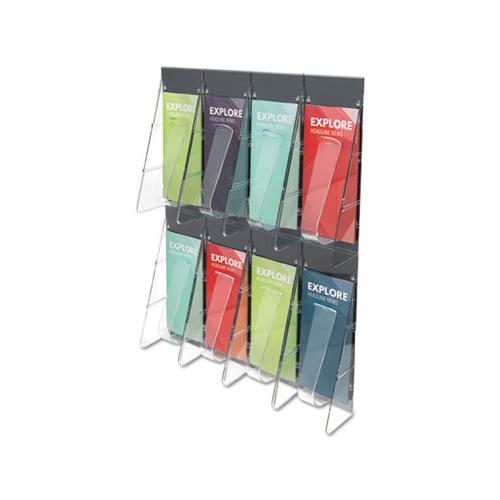 Stand-tall 8-bin Wall-mount Literature Rack, Leaflet, 18.25w X 3.38d X 23.75h, Clear-black