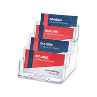 4-pocket Business Card Holder, 200 Card Cap, 3 15-16 X 3 3-4 X 3 1-2, Clear