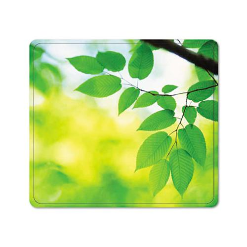 Recycled Mouse Pad, Nonskid Base, 9 X 8 X 1-16, Leaves