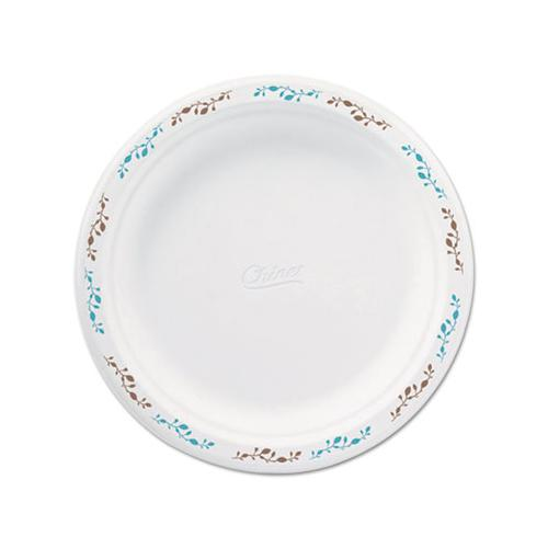 "Molded Fiber Dinnerware, Plate, 8 3-4""dia, White, Vines Theme, 500-carton"