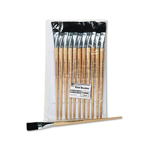 Long Handle Easel Brush, Size 22, Natural Bristle, Flat, 12-pack