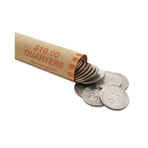 Nested Preformed Coin Wrappers, Quarters, $10.00, Orange, 1000 Wrappers-box