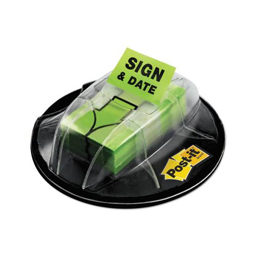 "Page Flags In Dispenser, ""sign & Date"", Bright Green, 200 Flags-dispenser"
