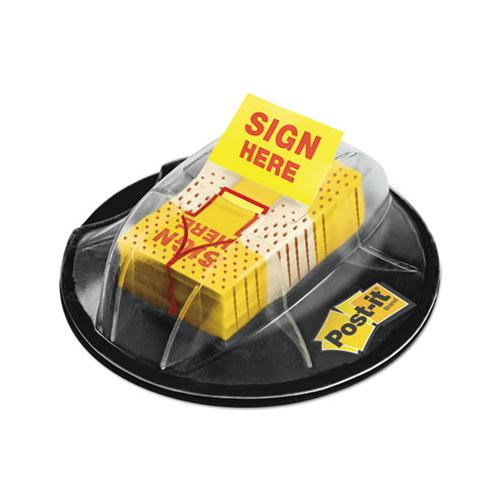 "Page Flags In Dispenser, ""sign Here"", Yellow, 200 Flags-dispenser"