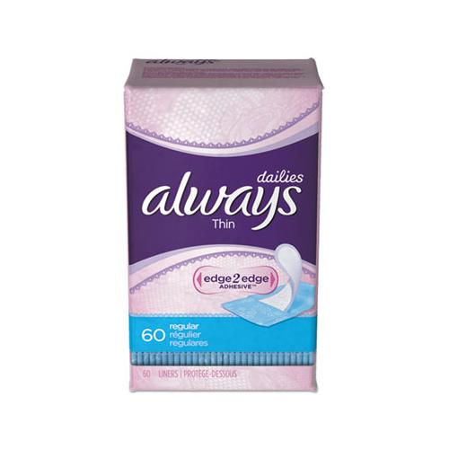Thin Daily Panty Liners, Regular, 60-pack