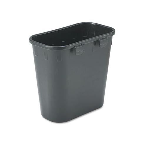 Paper Pitch Recycling Bin, Rectangular, Polyethylene, 1.75 Gal, Black