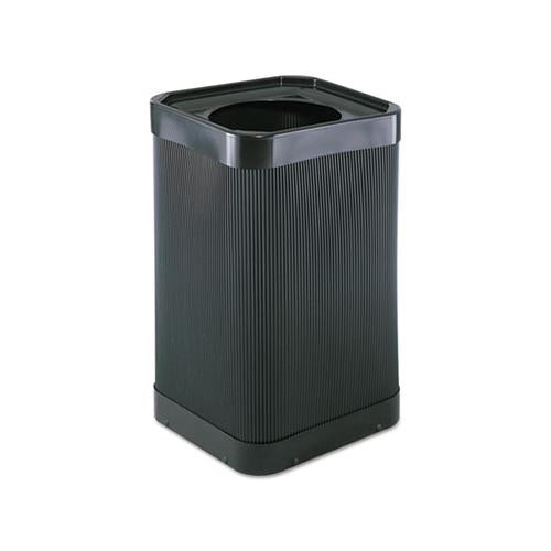 At-your Disposal Top-open Waste Receptacle, Square, Polyethylene, 38 Gal, Black