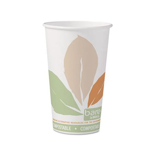 Bare By Solo Eco-forward Pla Paper Hot Cups, 16 Oz, Leaf Design, 50-pack