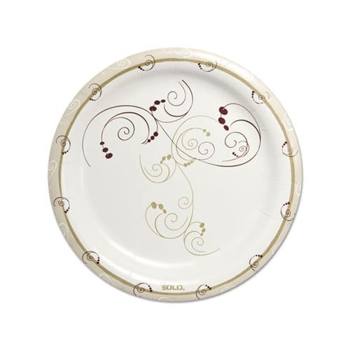 "Symphony Heavyweight Paper Dinnerware, 9"", Round, White-beige-red,125-pk, 4pk-ct"