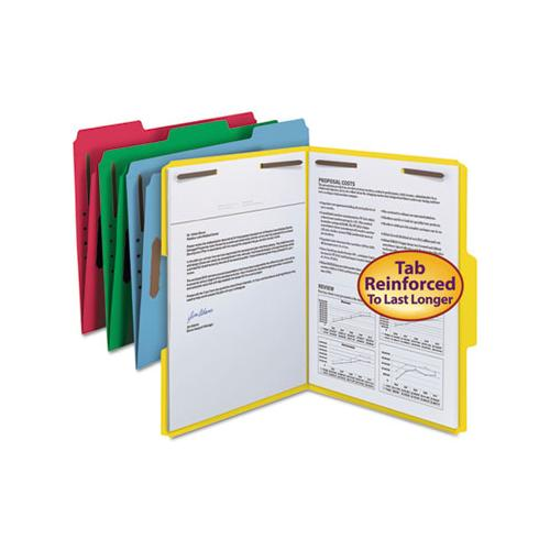 Top Tab Colored 2-fastener Folders, 1-3-cut Tabs, Letter Size, Assorted, 50-box