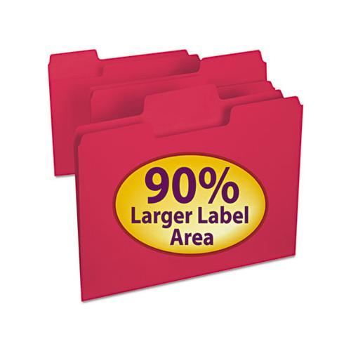 Supertab Colored File Folders, 1-3-cut Tabs, Letter Size, 11 Pt. Stock, Red, 100-box