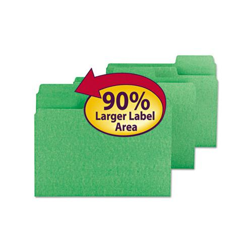 Supertab Colored File Folders, 1-3-cut Tabs, Letter Size, 11 Pt. Stock, Green, 100-box