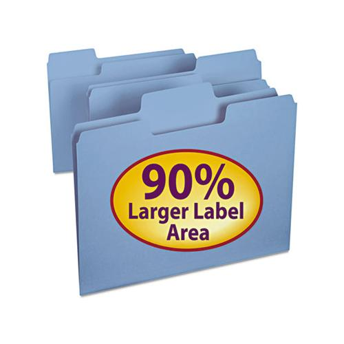 Supertab Colored File Folders, 1-3-cut Tabs, Letter Size, 11 Pt. Stock, Blue, 100-box