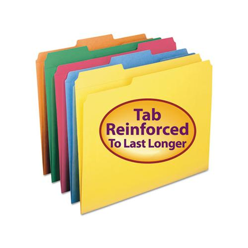 Reinforced Top Tab Colored File Folders, 1-3-cut Tabs, Letter Size, Assorted, 100-box