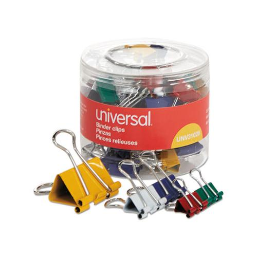 Binder Clips In Dispenser Tub, Assorted Sizes And Colors, 30-pack