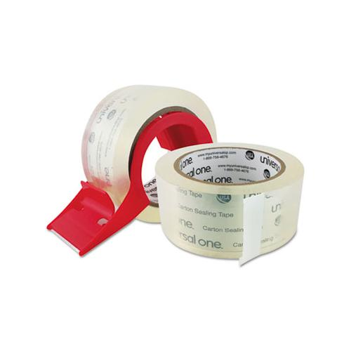 "Heavy-duty Acrylic Box Sealing Tape With Dispenser, 3"" Core, 1.88"" X 54.6 Yds, Clear, 2-pack"