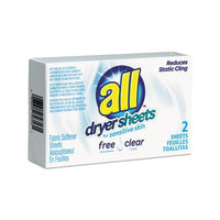 Free Clear Vend Pack Dryer Sheets, Fragrance Free, 2 Sheets-box, 100 Box-carton