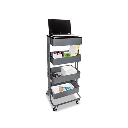 Multi-use Storage Cart-stand-up Workstation, 15.25w X 11.25d X 18.5 To 39h, Gray