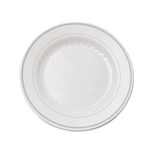 Masterpiece Plastic Plates, 6 In., White W-silver Accents, Round, 120-carton